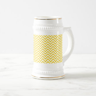 Yellow and White Zigzag Stripes Chevron Pattern Beer Stein