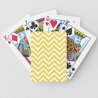 Yellow and White Zigzag Stripes Chevron Pattern Bicycle Playing Cards
