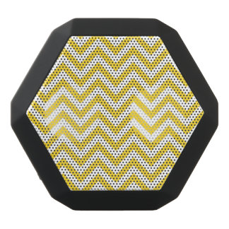 Yellow and White Zigzag Stripes Chevron Pattern Black Bluetooth Speaker