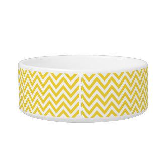 Yellow and White Zigzag Stripes Chevron Pattern Bowl