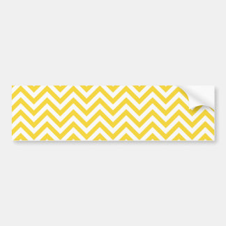 Yellow and White Zigzag Stripes Chevron Pattern Bumper Sticker