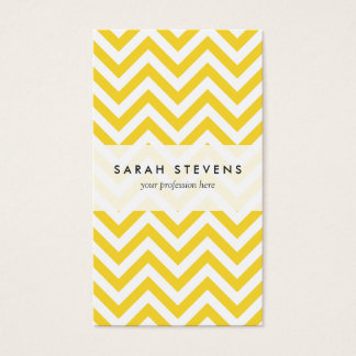 Yellow and White Zigzag Stripes Chevron Pattern Business Card