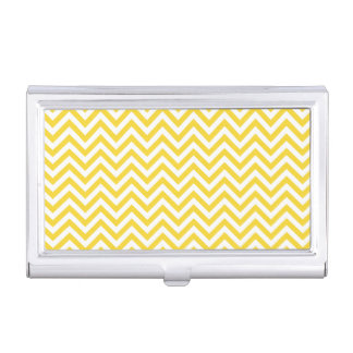 Yellow and White Zigzag Stripes Chevron Pattern Business Card Holder