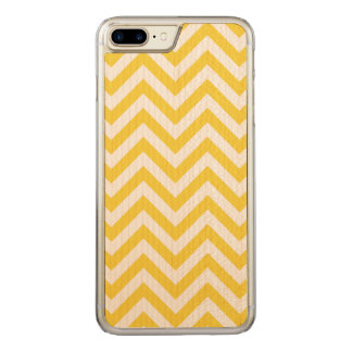 Yellow and White Zigzag Stripes Chevron Pattern Carved iPhone 8 Plus/7 Plus Case