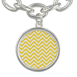 Yellow and White Zigzag Stripes Chevron Pattern Charm Bracelets