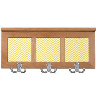 Yellow and White Zigzag Stripes Chevron Pattern Coat Racks