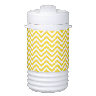 Yellow and White Zigzag Stripes Chevron Pattern Cooler