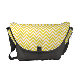 Yellow and White Zigzag Stripes Chevron Pattern Courier Bags