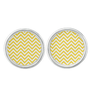 Yellow and White Zigzag Stripes Chevron Pattern Cufflinks