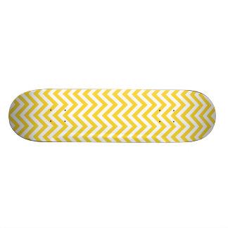 Yellow and White Zigzag Stripes Chevron Pattern Custom Skateboard