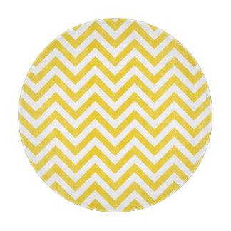 Yellow and White Zigzag Stripes Chevron Pattern Cutting Board