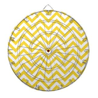 Yellow and White Zigzag Stripes Chevron Pattern Dartboard
