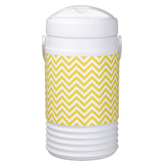 Yellow and White Zigzag Stripes Chevron Pattern Drinks Cooler