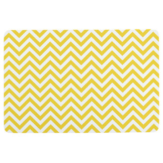 Yellow and White Zigzag Stripes Chevron Pattern Floor Mat