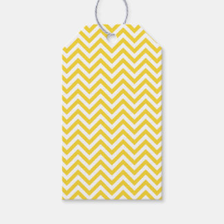 Yellow and White Zigzag Stripes Chevron Pattern Gift Tags