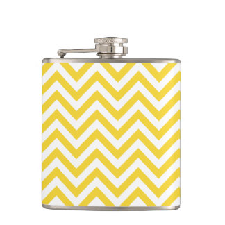 Yellow and White Zigzag Stripes Chevron Pattern Hip Flask