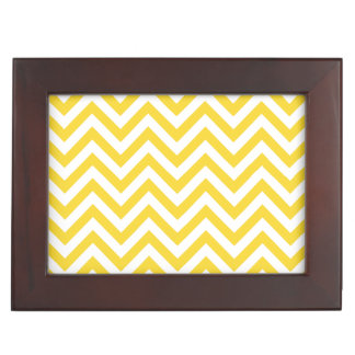 Yellow and White Zigzag Stripes Chevron Pattern Keepsake Box