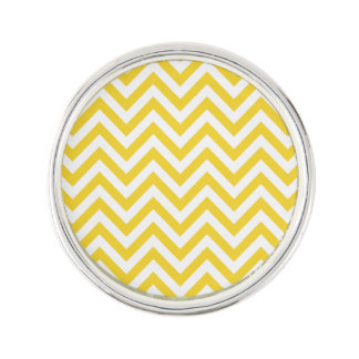 Yellow and White Zigzag Stripes Chevron Pattern Lapel Pin