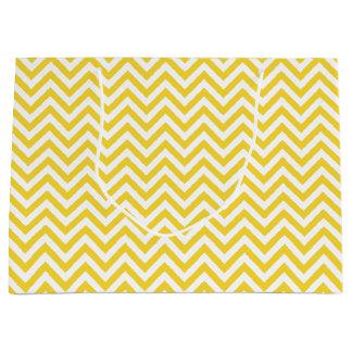 Yellow and White Zigzag Stripes Chevron Pattern Large Gift Bag