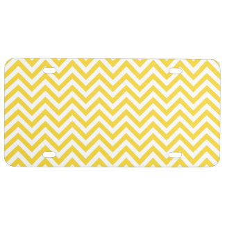 Yellow and White Zigzag Stripes Chevron Pattern License Plate