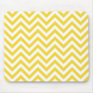 Yellow and White Zigzag Stripes Chevron Pattern Mouse Pad