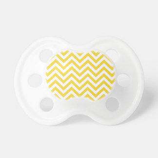 Yellow and White Zigzag Stripes Chevron Pattern Pacifier