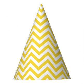 Yellow and White Zigzag Stripes Chevron Pattern Party Hat
