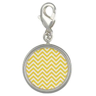 Yellow and White Zigzag Stripes Chevron Pattern Photo Charm