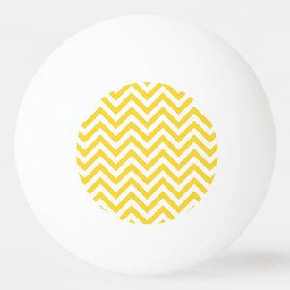 Yellow and White Zigzag Stripes Chevron Pattern Ping Pong Ball