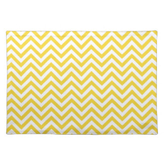 Yellow and White Zigzag Stripes Chevron Pattern Placemat