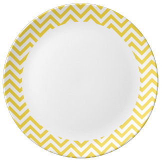 Yellow and White Zigzag Stripes Chevron Pattern Plate
