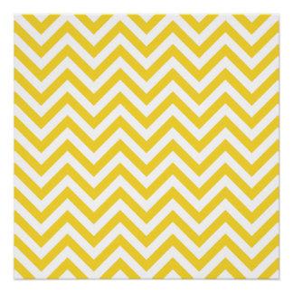Yellow and White Zigzag Stripes Chevron Pattern Poster