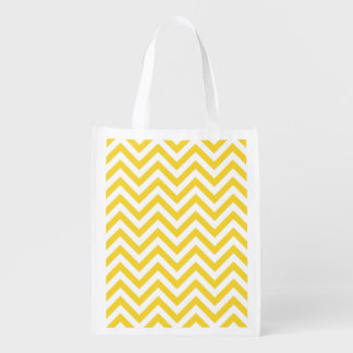 Yellow and White Zigzag Stripes Chevron Pattern Reusable Grocery Bag