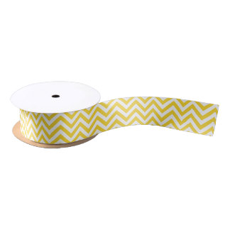Yellow and White Zigzag Stripes Chevron Pattern Satin Ribbon