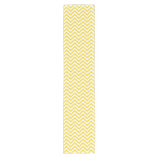Yellow and White Zigzag Stripes Chevron Pattern Short Table Runner