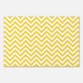 Yellow and White Zigzag Stripes Chevron Pattern Sign