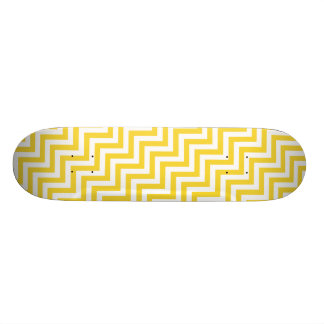 Yellow and White Zigzag Stripes Chevron Pattern Skate Board