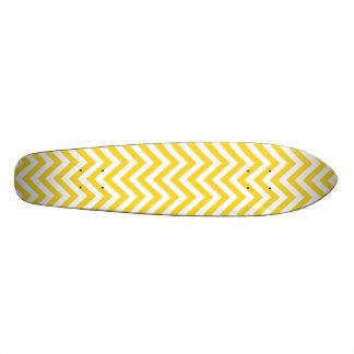 Yellow and White Zigzag Stripes Chevron Pattern Skateboard