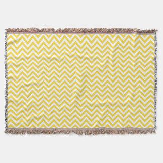 Yellow and White Zigzag Stripes Chevron Pattern Throw Blanket