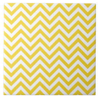 Yellow and White Zigzag Stripes Chevron Pattern Tile