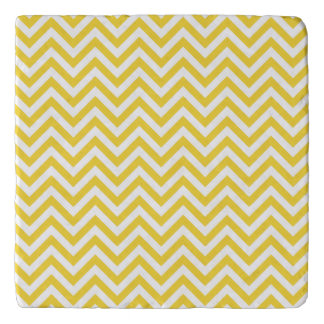 Yellow and White Zigzag Stripes Chevron Pattern Trivet