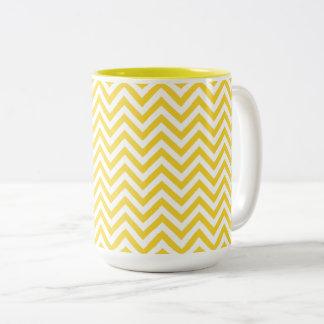 Yellow and White Zigzag Stripes Chevron Pattern Two-Tone Coffee Mug