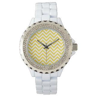 Yellow and White Zigzag Stripes Chevron Pattern Wrist Watches
