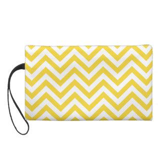 Yellow and White Zigzag Stripes Chevron Pattern Wristlet