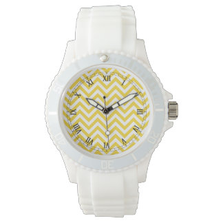 Yellow and White Zigzag Stripes Chevron Pattern Wristwatches