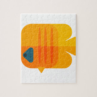 Yellow Angel Fish Primitive Style Jigsaw Puzzle