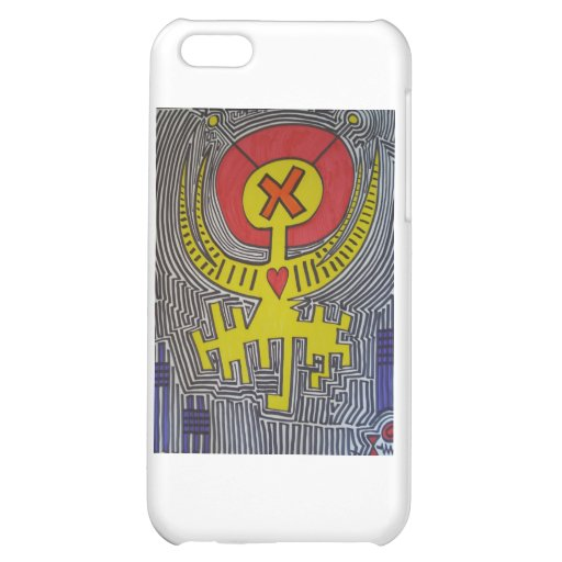 Yellow Angel X Alien with Red Halo Cover For iPhone 5C