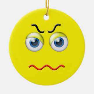 Yellow  Angry Emoji Custom Name Ceramic Ornament