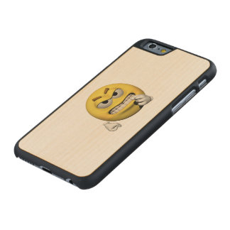 Yellow angry emoticon or smiley carved maple iPhone 6 case
