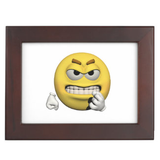 Yellow angry emoticon or smiley keepsake box